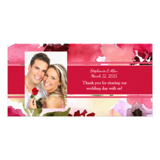 Modern Floral Red Watercolor Wedding Thank You Card