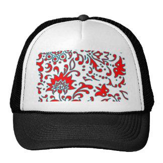 Modern Floral Retro Pattern Blue White Red Hat