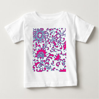 Modern Floral Retro Pattern Pink Blue White Baby T-Shirt