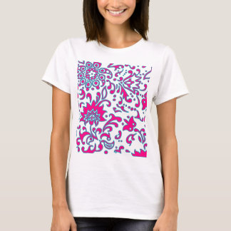 Modern Floral Retro Pattern Pink Blue White T-Shirt