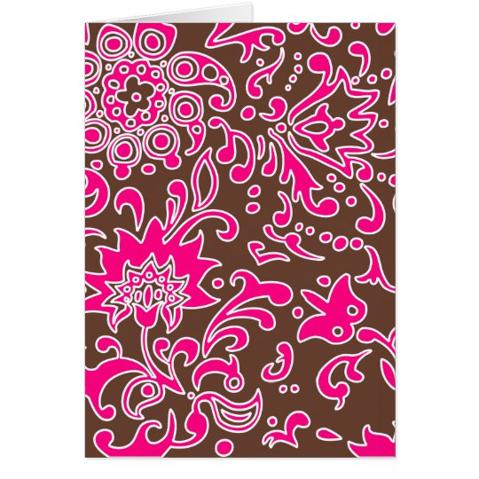 Modern Floral Retro Pattern Pink Brown Card