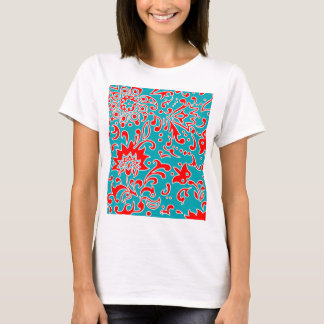 Modern Floral Retro Pattern Red Blue White T-Shirt