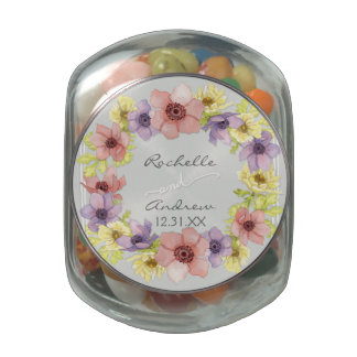 Modern Floral Rustic Lettered Typography Spring Jelly Belly Candy Jar