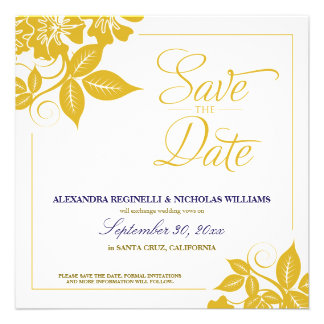 Modern Floral Save the Date Announcement gold
