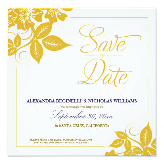 Modern Floral Save the Date Announcement (gold)