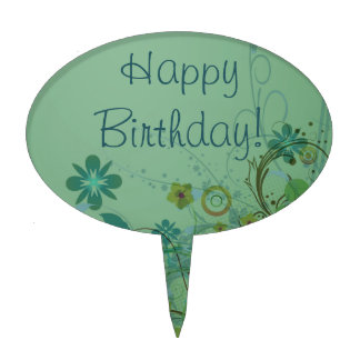 Modern Floral Sea Green Happy Birthday Cake Topper