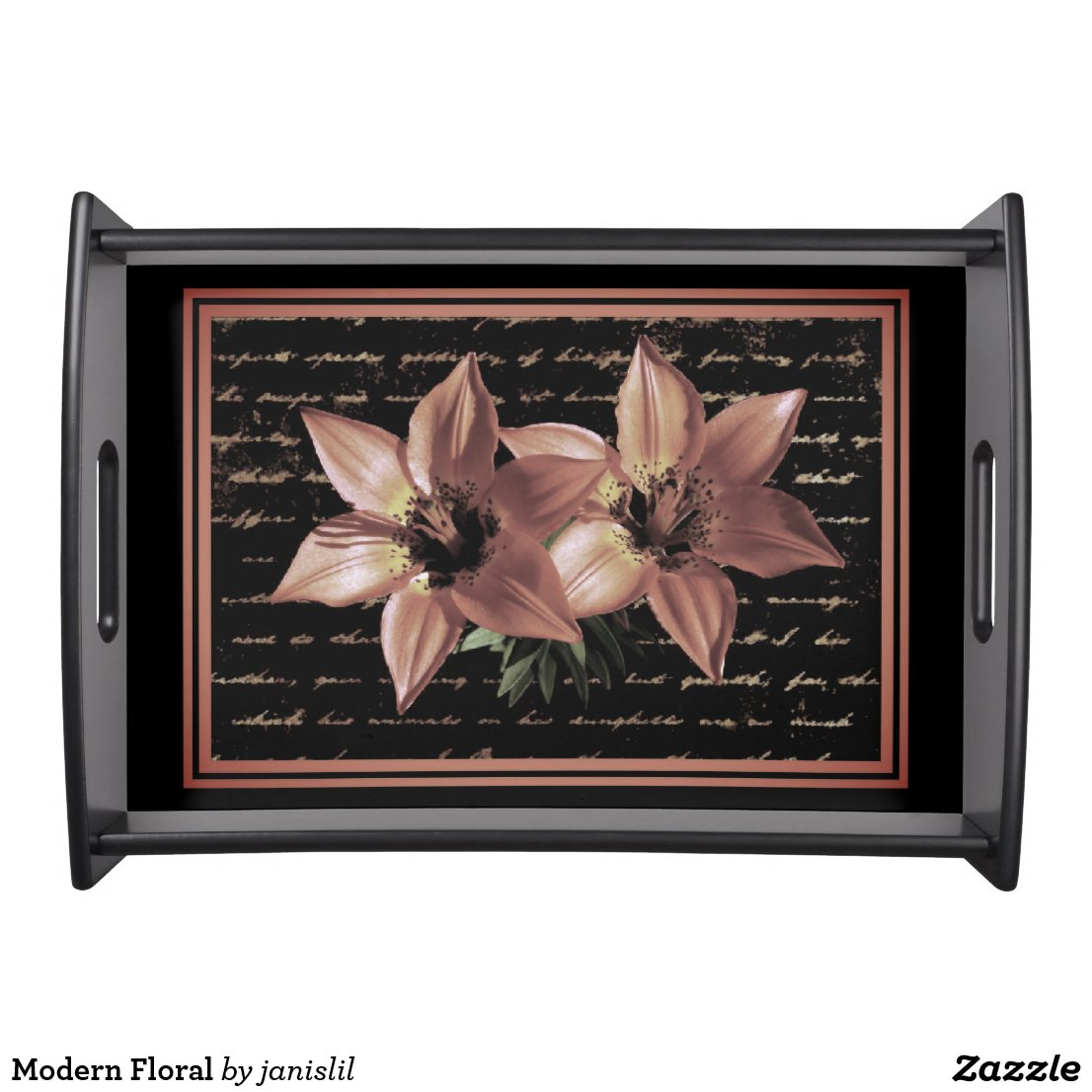 Modern Floral Serving Tray