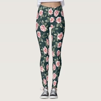 Modern Floral. Spring Flowers. Roses. Leggings