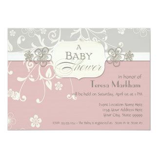 Modern Floral Swirl Flourish Bracket Baby Shower Custom Announcement