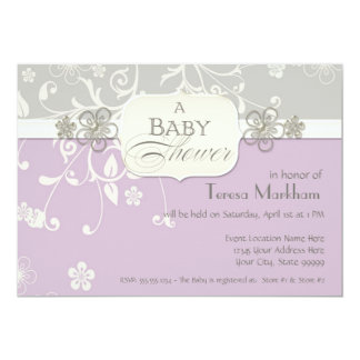 Modern Floral Swirl Flourish Bracket Baby Shower Custom Invite