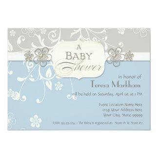 Modern Floral Swirl Flourish Bracket Baby Shower 5x7 Paper Invitation Card