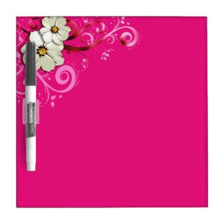 Modern Floral Swirling Curlicues   fuchsia Dry Erase Board