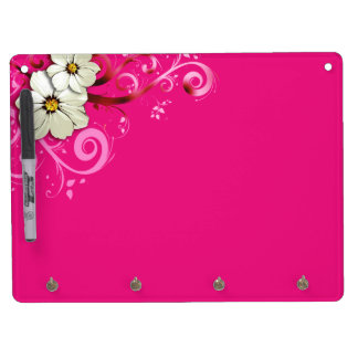 Modern Floral Swirling Curlicues   fuchsia Dry Erase Board With Keychain Holder