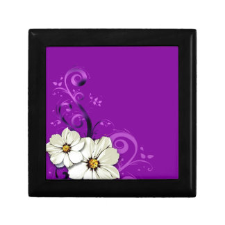 Modern Floral Swirling Curlicues  | purple Gift Box