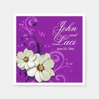 Modern Floral Swirling Curlicues | purple Napkin