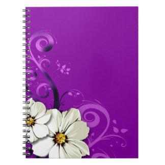 Modern Floral Swirling Curlicues  | purple Notebooks