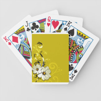 Modern Floral Swirling Curlicues Wedding   yellow Bicycle Playing Cards