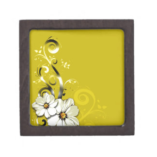 Modern Floral Swirling Curlicues Wedding | yellow Premium Jewelry Boxes