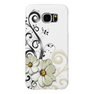 Modern Floral Swirling Curlicues | white Samsung Galaxy S6 Case