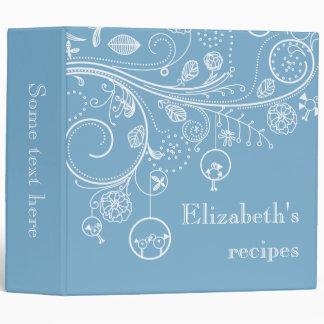 Modern floral swirls & birds dusk blue recipe 3 ring binder