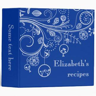 Modern floral swirls & birds dusk blue recipe binder