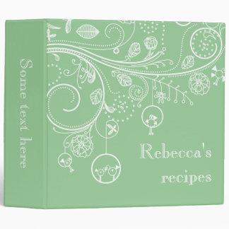 Modern floral swirls & birds faded green recipe binder
