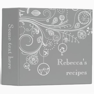Modern floral swirls & birds grey recipe binder