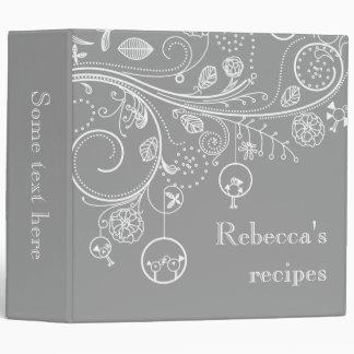 Modern floral swirls & birds grey recipe binders