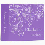 Modern floral swirls & birds purple recipe vinyl binder