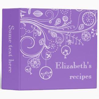 Modern floral swirls & birds purple recipe vinyl binder