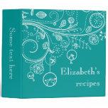 Modern floral swirls & birds teal recipe binder