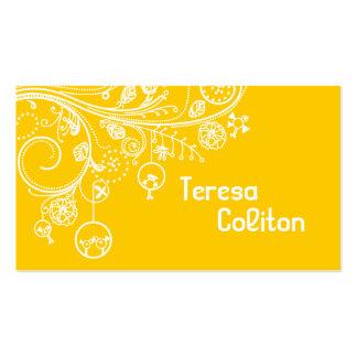 Modern floral swirls & birds yellow business card
