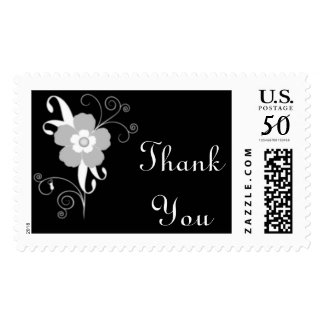 Modern Floral Thank You Custom Postage BW
