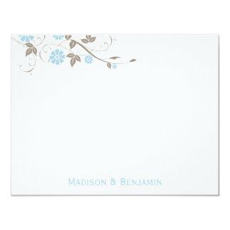 Modern Floral Thank You Note - Aqua Blue Card