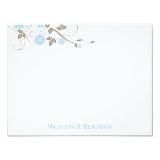 Modern Floral Thank You Note - Aqua Blue 4.25x5.5 Paper Invitation Card