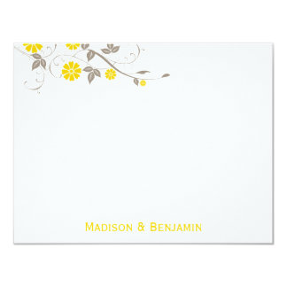 Modern Floral Thank You Note - Mustard 4.25x5.5 Paper Invitation Card