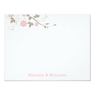 Modern Floral Thank You Note - Soft Pink 4.25x5.5 Paper Invitation Card