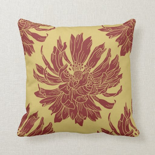 Throw Pillows For Maroon Couch : Modern Floral Throw Pillow - Harvest Gold & Maroon Zazzle