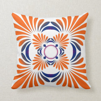 Modern Floral Throw Pillows:Blue Orange Throw Pillow