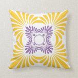 Modern Floral Throw Pillows:Purple Yellow
