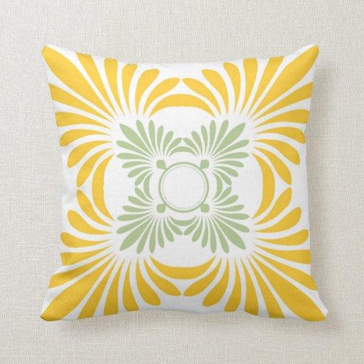 Yellow Green Decorative Pillows : Modern Floral Throw Pillows:Yellow Green Zazzle
