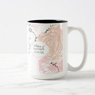 Modern Floral Vintage Graphic Flowers Pink Black Coffee Mug