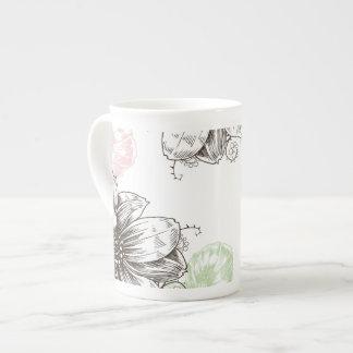 Modern Floral Vintage Graphic Flowers Pink Black Bone China Mug