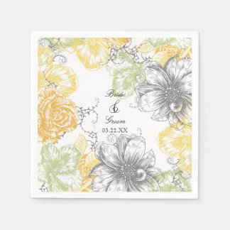 Modern Floral Vintage Graphic Flowers Yellow Grey Paper Napkin