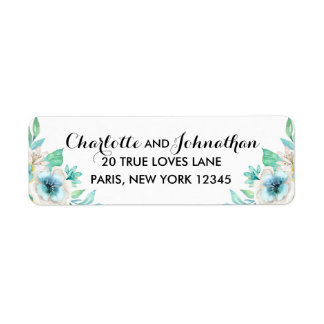 Modern Floral Vintage Wedding Return Address Label
