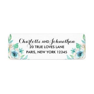 Modern Floral Vintage Wedding Return Address Label