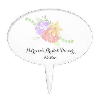 Modern Floral Watercolor Bridal Shower Cake Topper