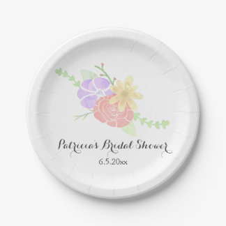 modern floral watercolor bridal shower paper plate
