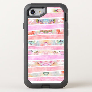 Modern floral watercolor girly pastel pink stripes OtterBox defender iPhone 7 case