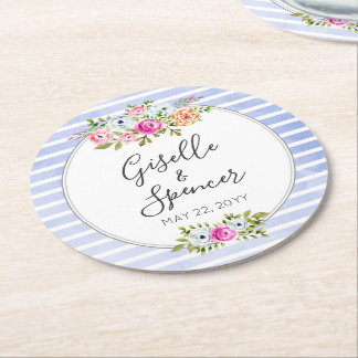 Modern Floral Watercolor Navy Stripe Wedding Round Paper Coaster
